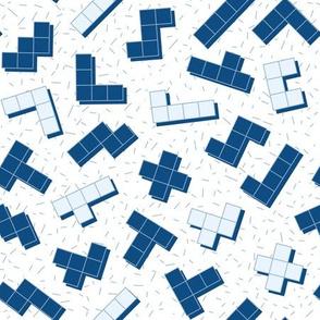classic blue tetris game - medium scale