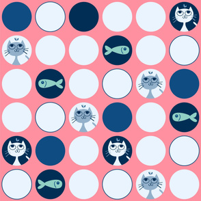 cats and fishes - pink background