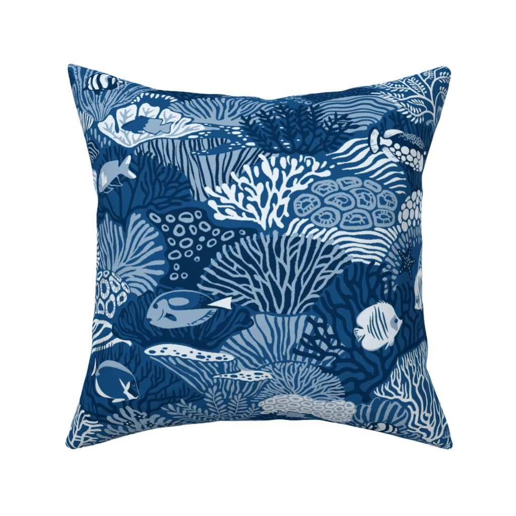 Catalan Throw Pillow featuring Coral Reef in classic blue by ikerpazstudio