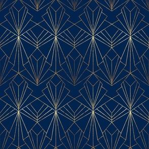 Art Deco on Navy Blue