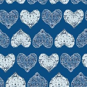 Ornate Hearts - Blue