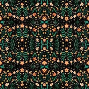 Flowers & triangles (black)
