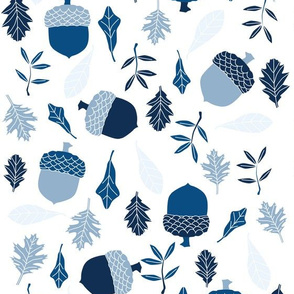 leaves and acorns in classic blue