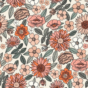 LARGE Happy Flowers fabric - 70s flowers, seventies floral, floral, retro floral, 60s flower fabric, 70s flower fabric, retro flowers fabric - spring