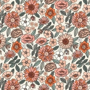 SMALL - Happy Flowers fabric - 70s flowers, seventies floral, floral, retro floral, 60s flower fabric, 70s flower fabric, retro flowers fabric - spring