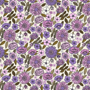 LARGE Happy Flowers fabric - 70s flowers, seventies floral, floral, retro floral, 60s flower fabric, 70s flower fabric, retro flowers fabric - mauve