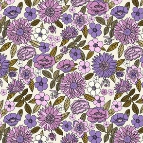 SMALL Happy Flowers fabric - 70s flowers, seventies floral, floral, retro floral, 60s flower fabric, 70s flower fabric, retro flowers fabric - mauve