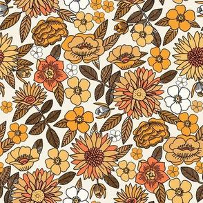 MEd Happy Flowers fabric - 70s flowers, seventies floral, floral, retro floral, 60s flower fabric, 70s flower fabric, retro flowers fabric - yellow