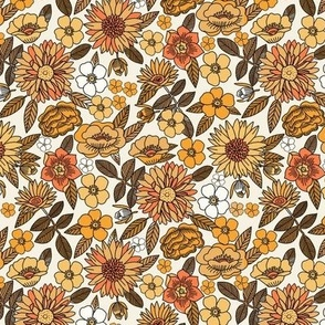 SMALL Happy Flowers fabric - 70s flowers, seventies floral, floral, retro floral, 60s flower fabric, 70s flower fabric, retro flowers fabric - yellow