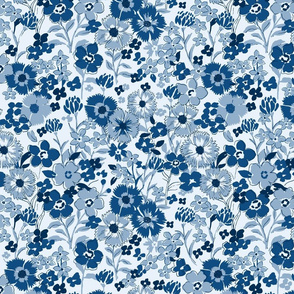Classic Blue Flowers