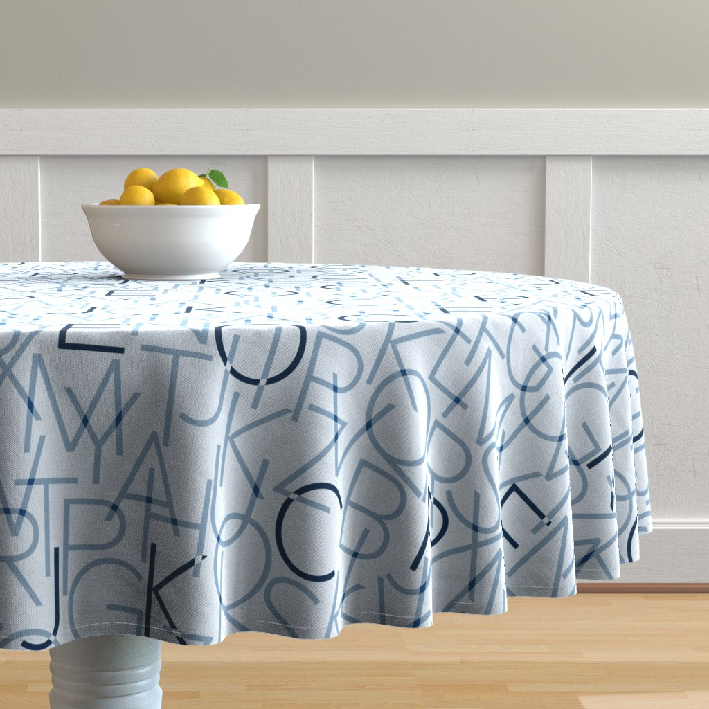 Malay Round Tablecloth featuring Classic Blue Ltd Color-Typography by twigged