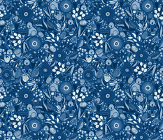 Koala Classic Blue Aussie Floral // © ZirkusDesign  Midnight Flower Forest with Koalas peeking out from native Australian flowers + botanicals // Eucalyptus, Protea, Kangaroo Paw, Wattle, Silver Dollar Eucalyptus Leaves, Gum Nuts + Blossoms, Koala Bear Jo