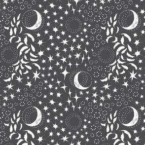 Moon Among the Stars - Dark Grey Background