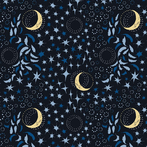 Moon Among the Stars - Blues with Yellow Moon - night sky constellations