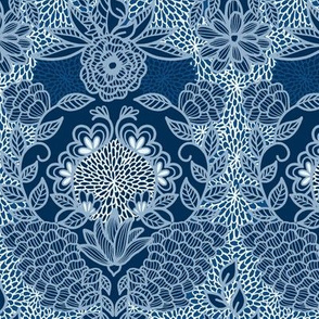 Floral Flourish Damask Cobalt Navy Classic Blue by Angel Gerardo - Large Scale