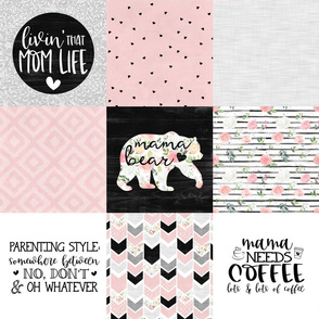 MomLife//Coffee//Pink - Wholecloth Cheat Quilt