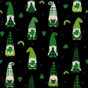 st patricks day gnome fabric - scandi gnome, gnome design, lucky gnome - black