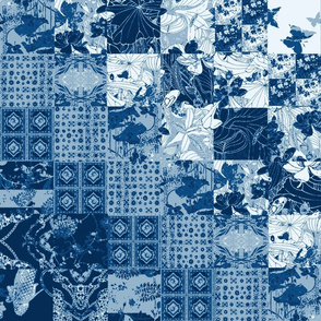 Blue Japanese Chinese Persian Cheater Quilt