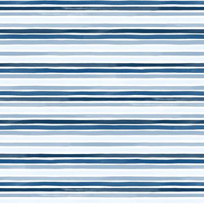 Small Watercolor Stripes Multi Pantone Classic Blue by Friztin