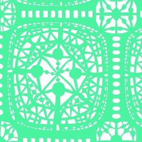 boho lace aka vector lace 2 seafoam light blue green and white