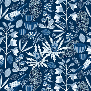botanical study in blue
