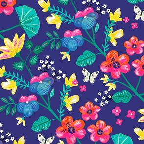 garden flowers on dark blue