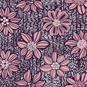 Linocut Vintage flowers