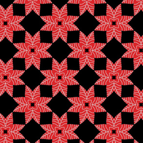 Red Floral Leafs Geometric Symmetry