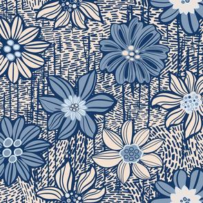 Blue vintage flowers in style linocut