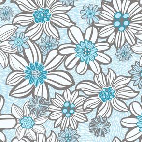 White Blue Vintage flowers
