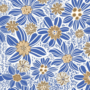 Blue yellow Vintage flowers
