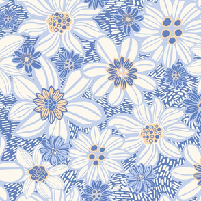 Light linocut Vintage flowers meadow