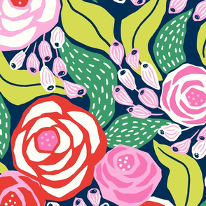 colourful papercut roses on dark blue background/jumbo scale