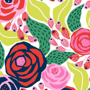 colourful papercut roses on cream background/jumbo scale