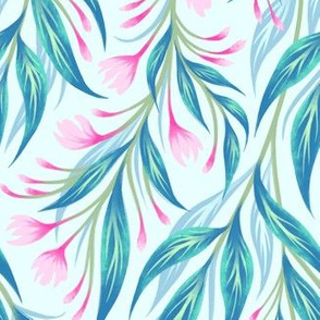 Budding Vines Floral - Pink Teal