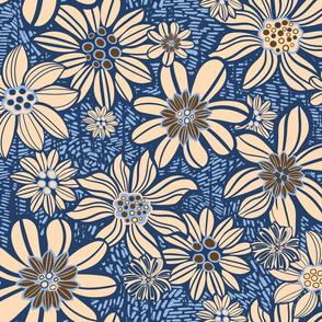 Vintage flowers Blue meadow