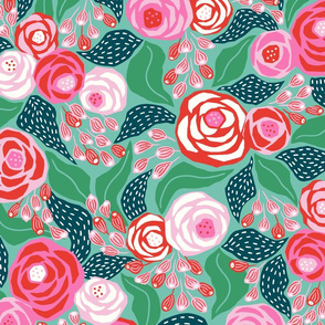 pink and green papercut roses/large scale