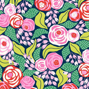 colourful papercut roses on dark blue/large scale