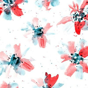 Ethereal watercolor flowers in coral and indigo ★ painted florals for modern home decor, bedding, nursery