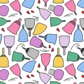 Menstrual Cups Toon on White