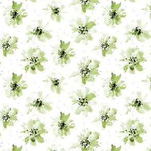 Olive green watercolor florals p257