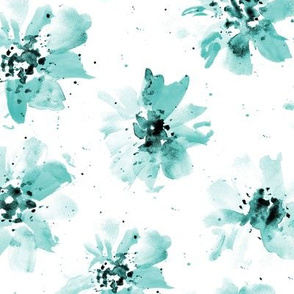 Tidewater green ethereal flowers - watercolor emerald florals