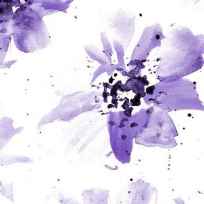 Amethyst watercolor florals - large scale florals 257