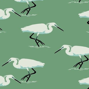 White herons on green - small scale