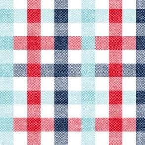 red, blue & light blue plaid - check - LAD20