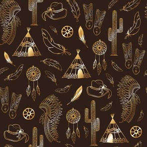 Brown gold western style elements seamless pattern print background texture