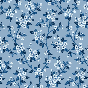 Spring Blossoms blue medium