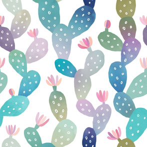 Watercolor Cacti Pattern