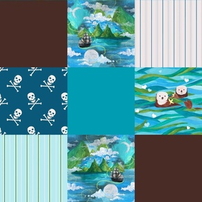 Off on Adventure with Otters Cheater Quilt