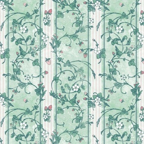 Rococo Strawberry white and pink stripes